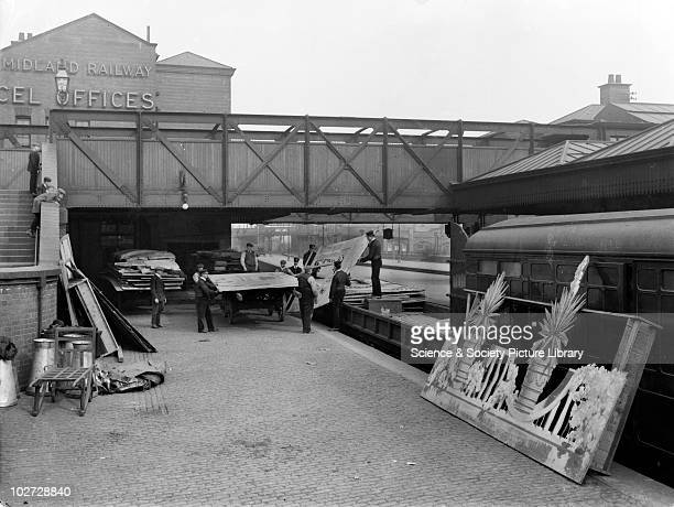 Theatrical train at Nottingham unloading scenery 9 April 1910