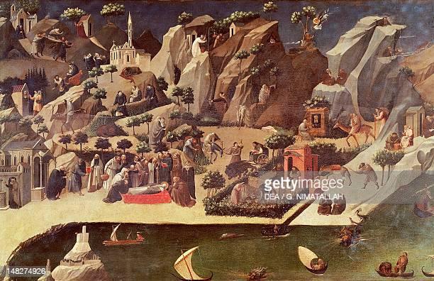 Thebaide 14181420 attributed to Fra Angelico or Gherardo Starnina tempera on panel 735x208 cm Detail Florence Galleria Degli Uffizi