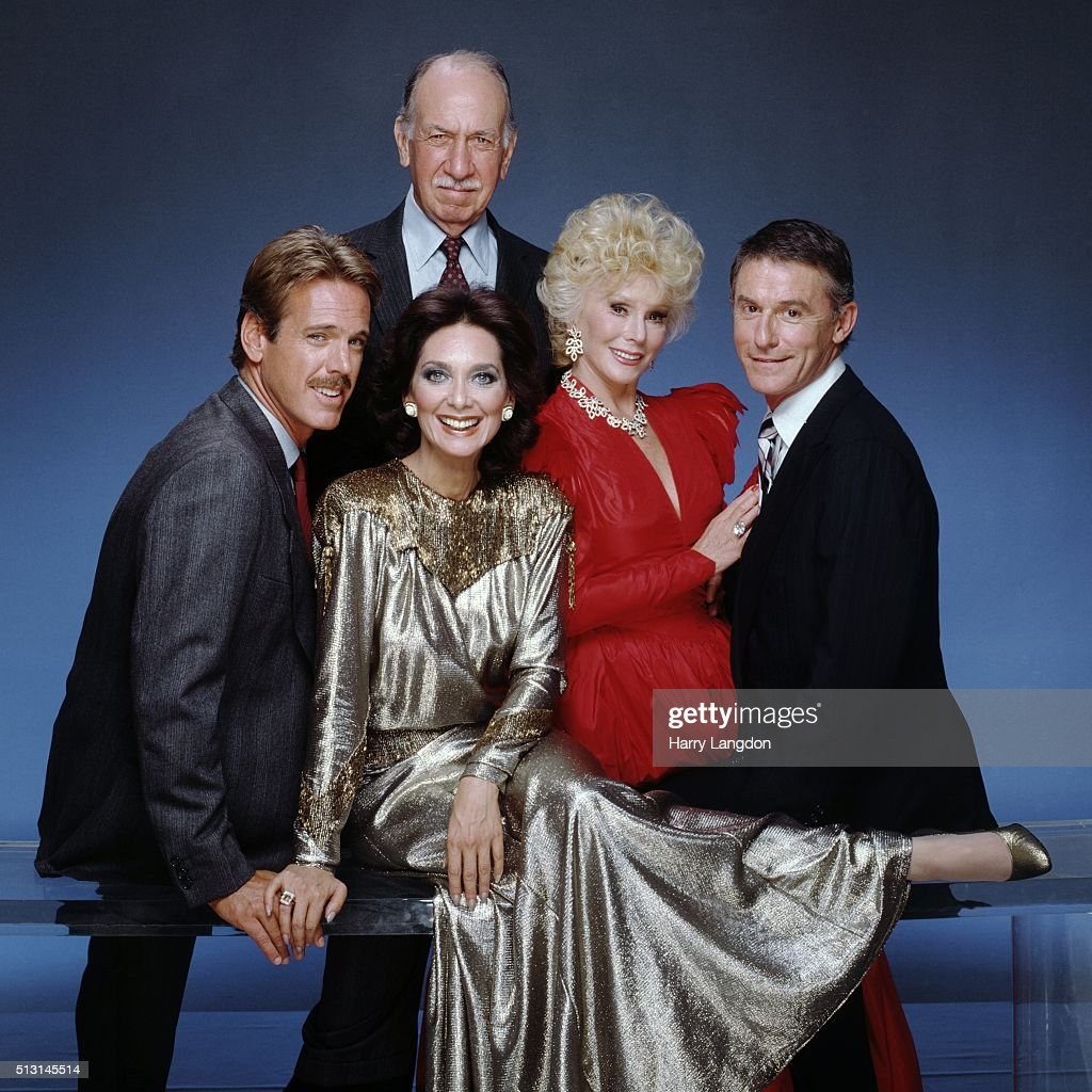 Thecast of TV show Bridges To Cross (L-R Nicolas Surovy, Suzanne Pleshette, Jose Ferrer, Eva Gabor and Roddy McDowall) poses for a portrait in 1985 in Los Angeles, California.