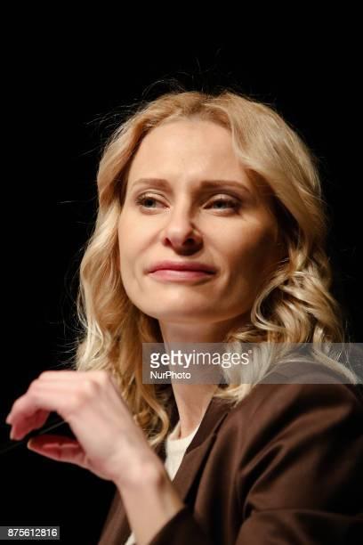 TheCEO of Eastern Europe branch of David Lynch Foundation Olga Diakova is seen at the pressconference in Kyiv Ukraine Friday Nov 17 2017 Lynch...