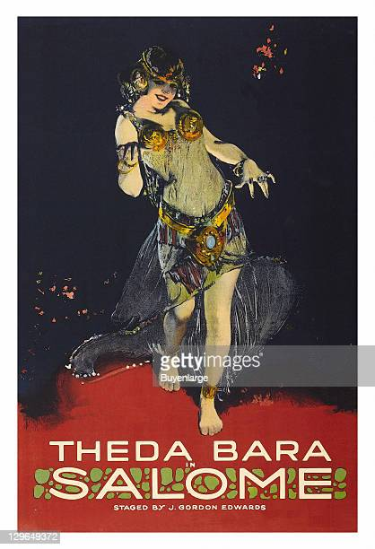 Theda Bara as an exotic oriental dancer on a poster that advertises the movie 'Salome' 1918