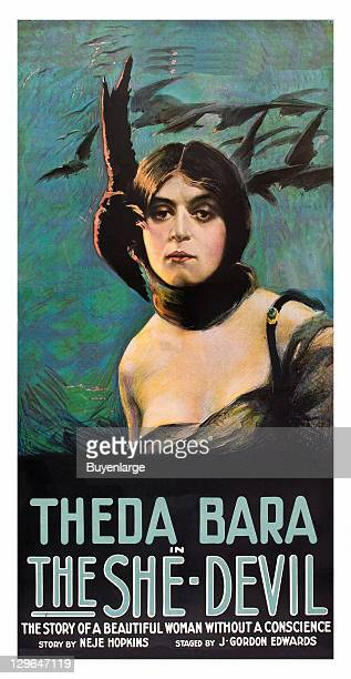 Theda Bara with ominous ravens on a poster that advertises the movie 'The She Devil' 1918