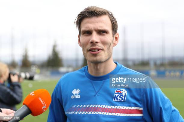 Theódór Elmar Bjarnason speaks to the press during the Iceland National Team training session at CEFCU Stadium formerly known as Spartan Stadium on...
