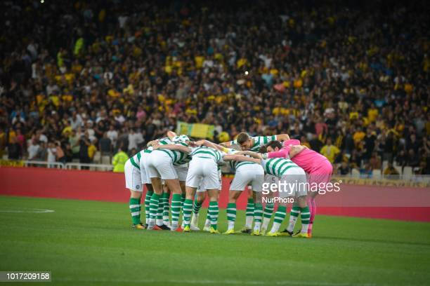 Hendry Jack of Celtic compete against Victor Klonaridis during the UEFA Champions League 3rd Qualifying round second leg match AEK FC vs Celtic FC at...