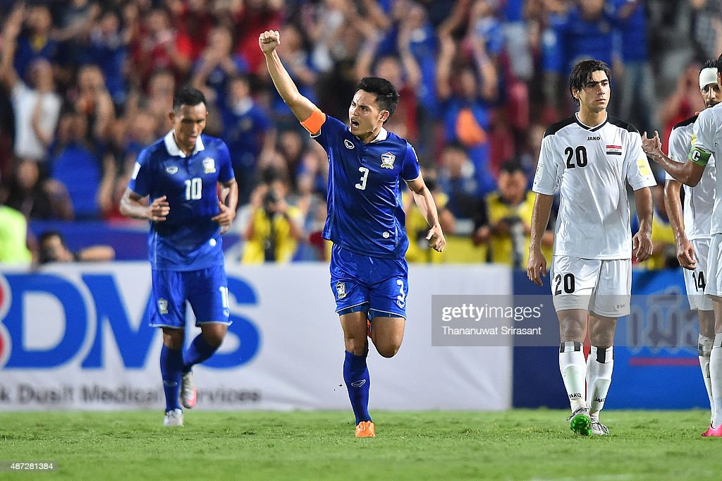 Theerathon Bunmathan #3 of Thailand celebrates his goal during the 2018 FIFA World Cup Qualifier match between Thailand and Iraq at Rajamangala Stadium on September 8, 2015 in Bangkok, Thailand.