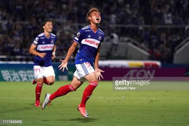 Theerathon of Yokohama F.Marinos celebrates the first goal during the J.League J1 match between Yokohama F.Marinos and Gamba Osaka at Nippatsu...