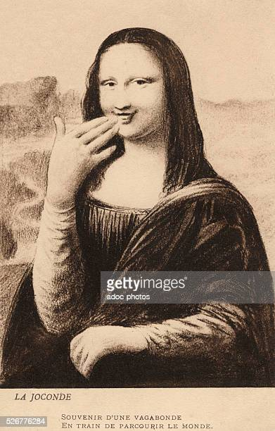 Theft of Mona Lisa the painting by Leonardo da Vinci in the Louvre in Paris As the painting has not still been found again postcard showing the...