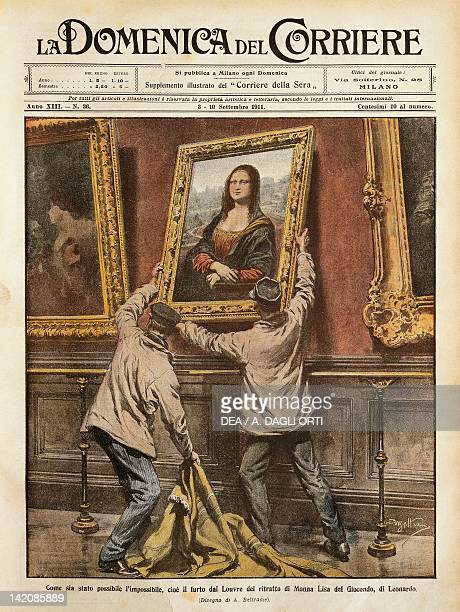 Theft of the Mona Lisa Illustrator Achille Beltrame from La Domenica del Corriere 3rd10th September 1911