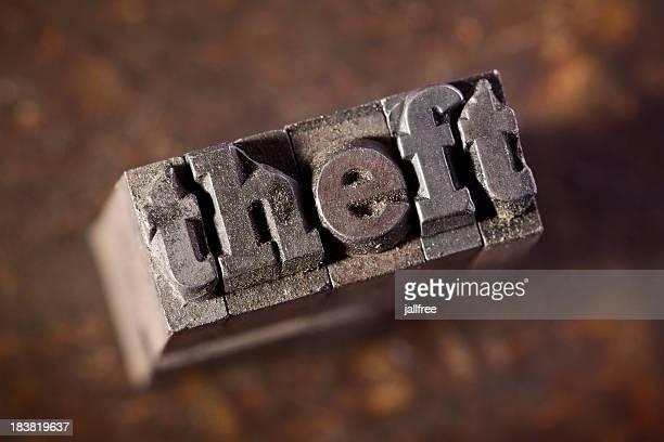 Vol écrit dans le vieux métal typographie sur bois