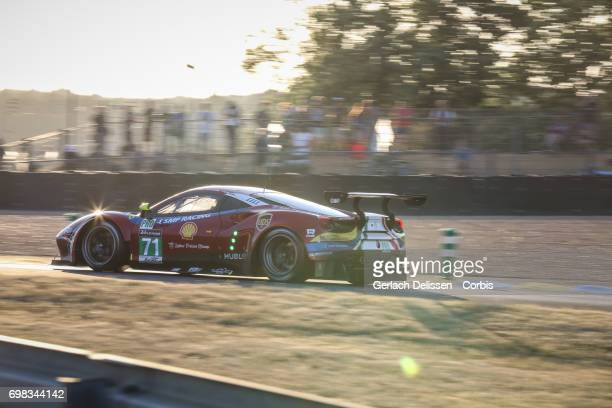 TheGTE Pro AF Corse Ferrari 488 GTE with drivers Davide Rigon /Sam Bird /Miguel Molina in action during the Le Mans 24 Hours race on June 18 2017 in...