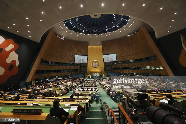 Thein Sein, President of Myanmar, addresses the United Nations General Assembly on September 27, 2012 in New York City. The 67th annual event gathers...
