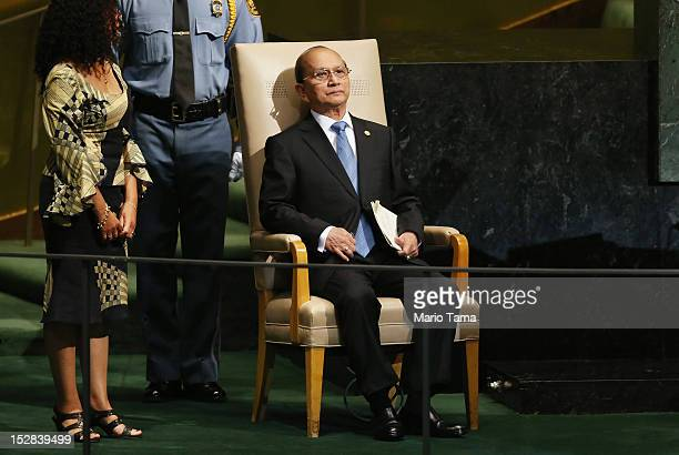 Thein Sein, President of Myanmar, waits to address the United Nations General Assembly on September 27, 2012 in New York City. The 67th annual event...