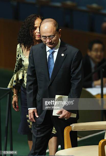 Thein Sein, President of the Republic of the Union of Myanmar, arrives to address the UN General Assembly on September 27, 2012 in New York City. The...