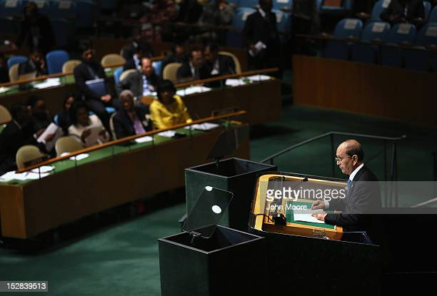 Thein Sein, President of the Republic of the Union of Myanmar, addresses the UN General Assembly on September 27, 2012 in New York City. The 67th...