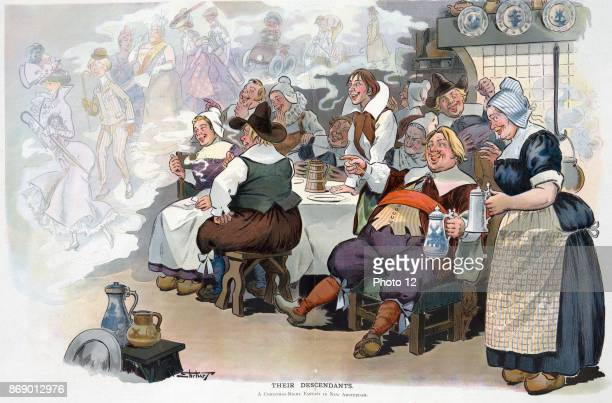 Their descendants by artist Samuel D Ehrhart approx 18621937 Illustration shows Dutch settlers in 'New Amsterdam' chuckling over drink at the shades...