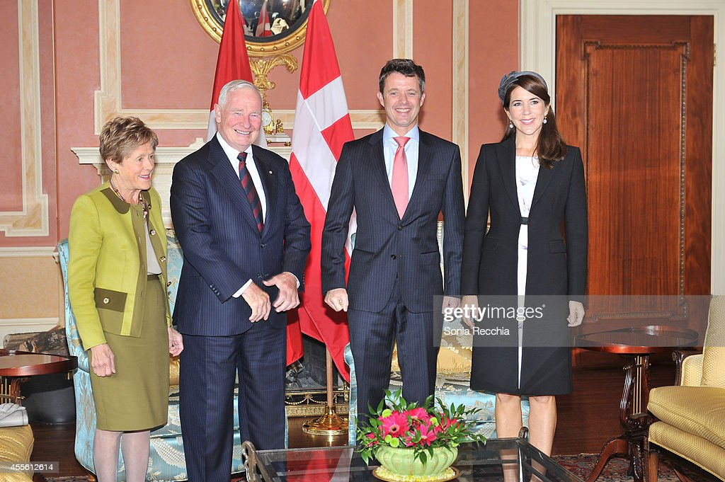 Their Excellencies Mrs. Sharon Johnston, The Right Honourable David Johnston Governor General of Canada, Crown Prince Frederik And Crown Princess Mary Of Denmark attend Official Visit To Canada - Day 1 on September 17, 2014 in Ottawa, Canada.