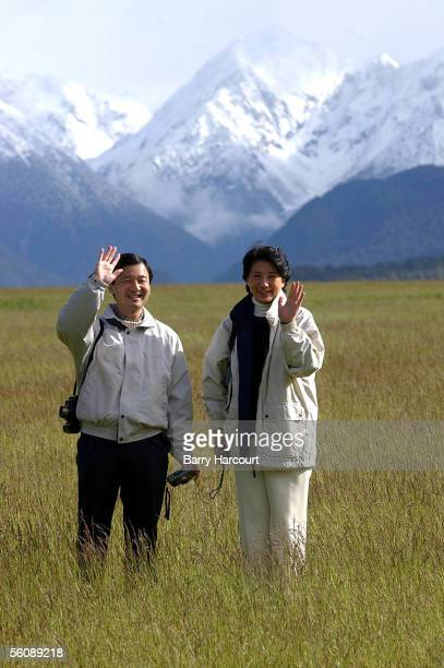 Their Imperial Highnesses Crown Prince Natuhito and Crown Princess Masako of Japan wave to the media as they admire the admire the scenic Eglington...