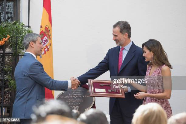 Their Majesties King Felipe VI and Queen Letizia of Spain are presented with keys to 'La Villita' San Antonio by San Antonio Mayor Ron Nirenberg at...