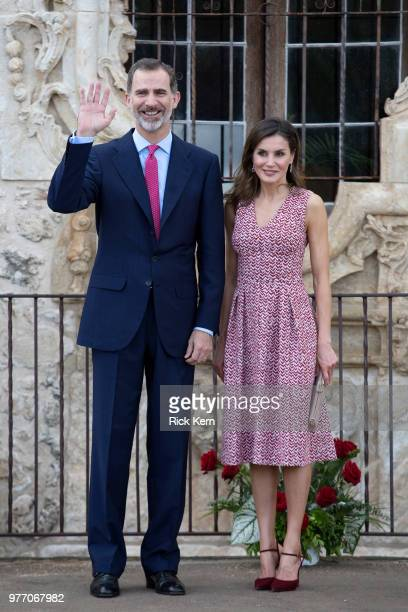 Their Majesties King Felipe VI and Queen Letizia of Spain visit Mission San José on June 17 2018 in San Antonio Texas