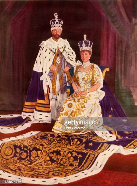 """Their Majesties King George V and Queen Mary in their coronation robes' . George V and Mary of Teck of the United Kingdom. From """"The Queen Mother"""",..."""