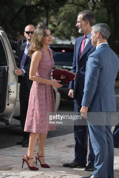 Their Majesties Queen Letizia and King Felipe VI of Spain are welcomed by San Antonio Mayor Ron Nirenberg at the Spanish Governor's Palace on June 17...