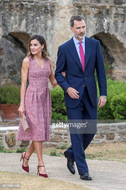 Spain's King Felipe VI and Queen Letizia greet people as they arrive for the Carolina Foundation Hispanic Leaders Summit at the Hyatt Regency Hotel...