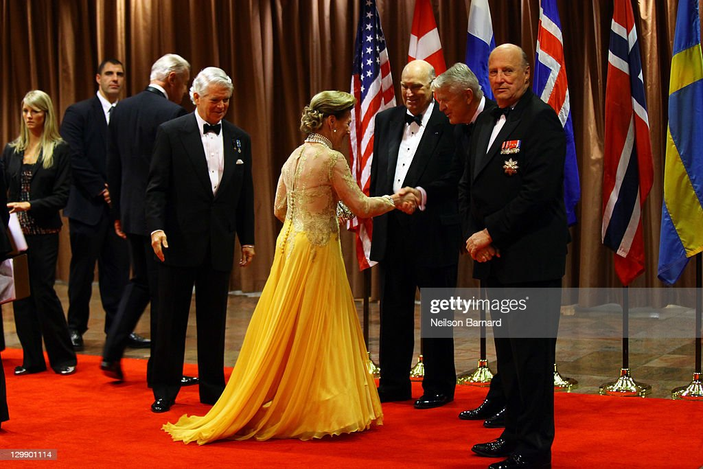 Their Majesties Queen Sonja of Norway and King Harald V of Norway attend the American Scandinavian Foundation's Centennial Ball at The Hilton Hotel on October 21, 2011 in New York City.