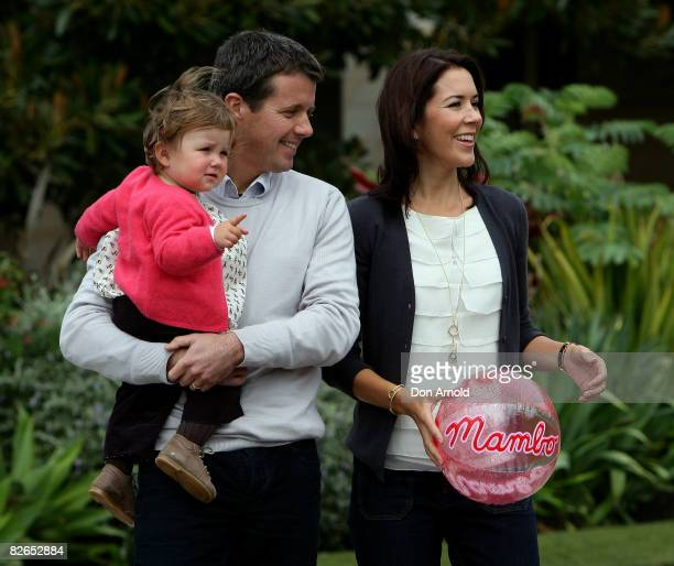 Their Royal Highnesses Crown Prince Frederik, Crown Princess Mary and Princess Isabella of Denmark pose during a media call at Government House on...