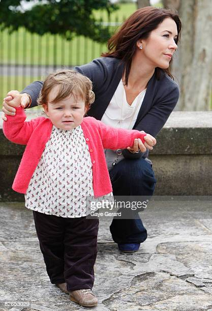 Their Royal Highnesses Crown Princess Mary and Princess Isabella of Denmark pose during a media call at Government House on September 4 2008 in...