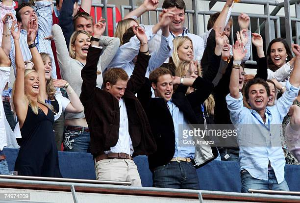 Their Royal Highnesses Prince William and Prince Harry and guests Chelsy Davy and Kate Middleton join guests in the royal box in performing a Mexican...