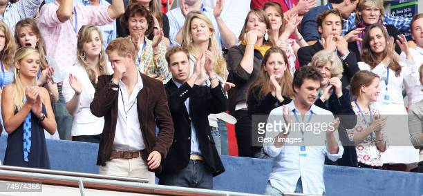 Their Royal Highnesses Prince William and Prince Harry and guests Chelsy Davy and Kate Middleton watch the Concert for Diana at Wembley Stadium on...