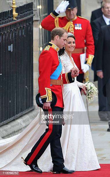 Their Royal Highnesses Prince William Duke of Cambridge and Catherine Duchess of Cambridge leave the Abbey before making the journey by carriage...