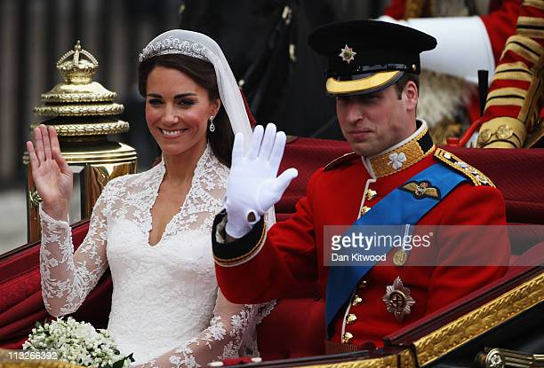 Their Royal Highnesses Prince William Duke of Cambridge and Catherine Duchess of Cambridge make the journey by carriage procession to Buckingham...
