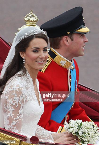Their Royal Highnesses Prince William Duke of Cambridge and Catherine Duchess of Cambridge the journey by carriage procession to Buckingham Palace...
