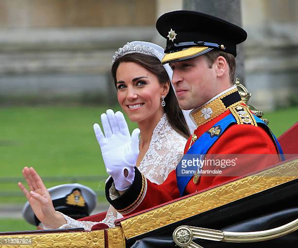 Their Royal Highnesses Prince William, Duke of Cambridge and Catherine, Duchess of Cambridge make their journey by carriage procession to Buckingham...