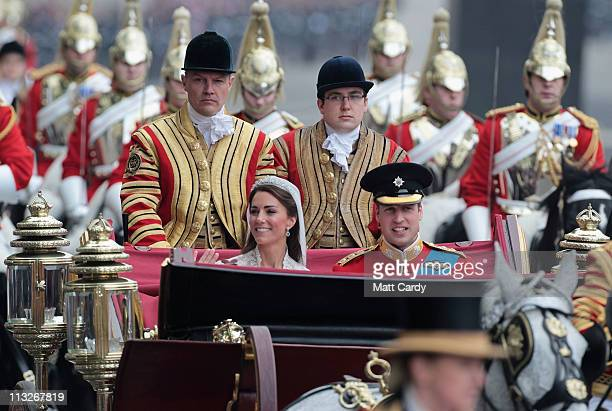 Their Royal Highnesses Prince William, Duke of Cambridge and Catherine, Duchess of Cambridge make the journey by carriage procession to Buckingham...