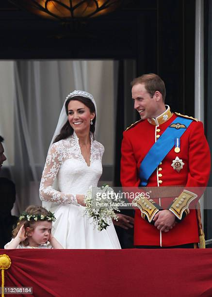 Their Royal Highnesses Prince William, Duke of Cambridge and Catherine, Duchess of Cambridge greet well-wishers from the balcony at Buckingham Palace...