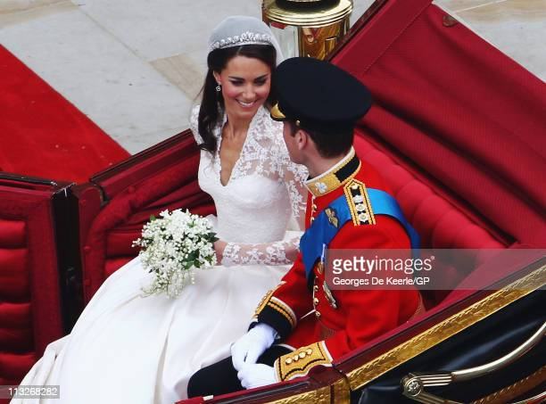 Their Royal Highnesses Prince William, Duke of Cambridge and Catherine, Duchess of Cambridge prepare to begin their journey by carriage procession to...