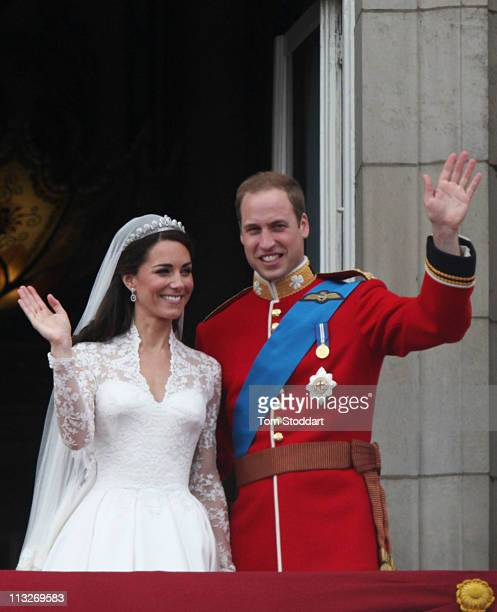 Their Royal Highnesses Prince William Duke of Cambridge and Catherine Duchess of Cambridge greet wellwishers from the balcony at Buckingham Palace on...