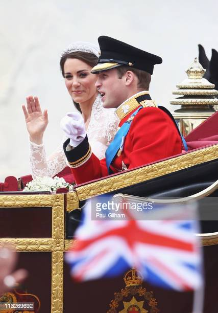 Their Royal Highnesses Prince William, Duke of Cambridge and Catherine, Duchess of Cambridge journey by carriage procession to Buckingham Palace...