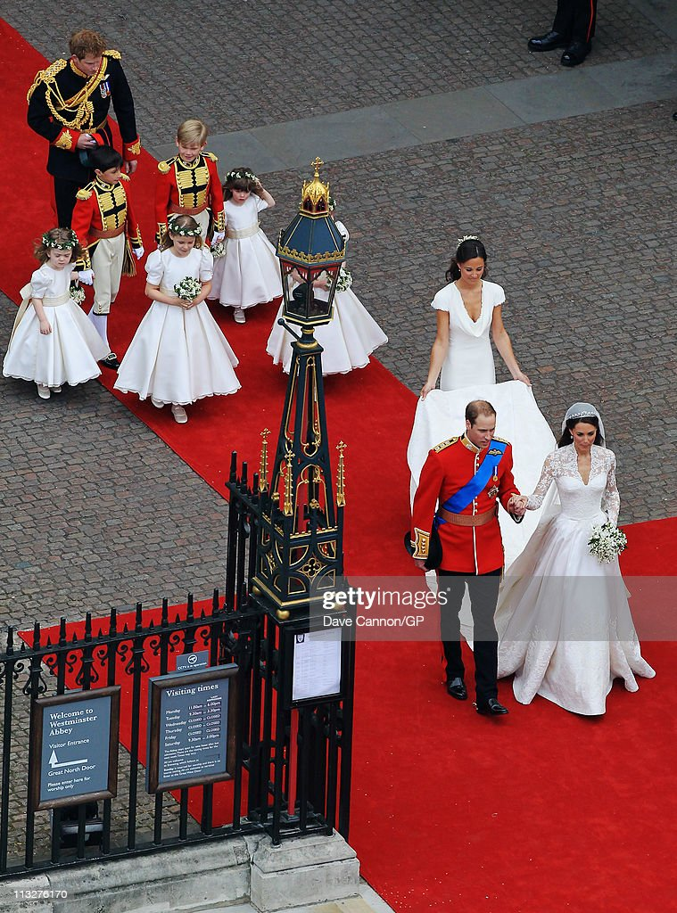 Their Royal Highnesses Prince William, Duke of Cambridge and Catherine, Duchess of Cambridge are followed by Maid of Honour Pippa Middleton, their page boys and bridesmaids and their best man Prince Harry as they prepare to begin their journey by carriage procession to Buckingham Palace following their marriage at Westminster Abbey on April 29, 2011 in London, England. The marriage of the second in line to the British throne was led by the Archbishop of Canterbury and was attended by 1900 guests, including foreign Royal family members and heads of state. Thousands of well-wishers from around the world have also flocked to London to witness the spectacle and pageantry of the Royal Wedding.