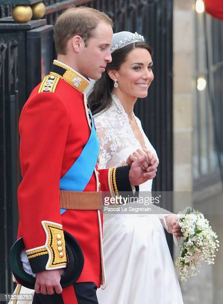 Their Royal Highnesses Prince William Duke of Cambridge and Catherine Duchess of Cambridge following their marriage at Westminster Abbey on April 29...
