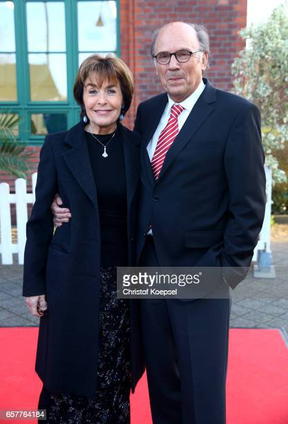 Thekla Carola Wied poses with husband Hannes Rieckhoff during the Steiger Award at Coal Mine Hansemann Alte Kaue on March 25 2017 in Dortmund Germany