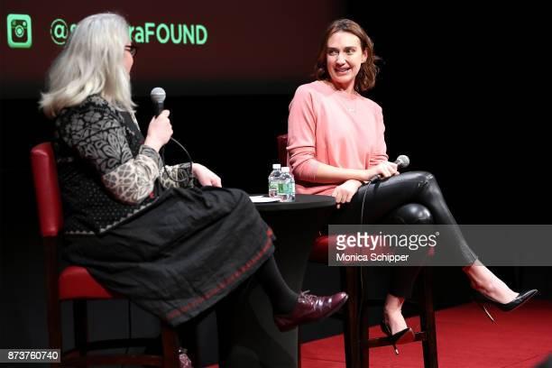 Thelma Adams speaks with actress Anna Schafer during SAGAFTRA Foundation Conversations 'Elizabeth Blue' With Anna Schafer And Thelma Adams at The...