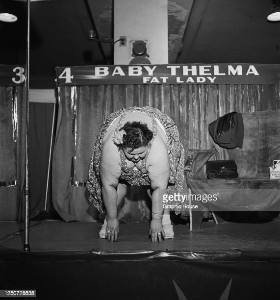 Thelma Williams or 'Baby Thelma', the 'fat lady' of the Ringling Bros Circus, reaches down to touch her toes, 1952.