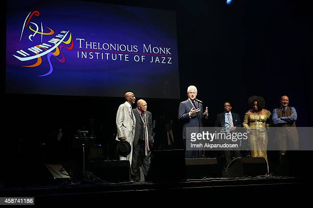 Thelonious Monk Quincy Jones Bill Clinton Herbie Hancock Dianne Reeves and Kevin Spacey attend the 2014 Thelonious Monk International Jazz Trumpet...
