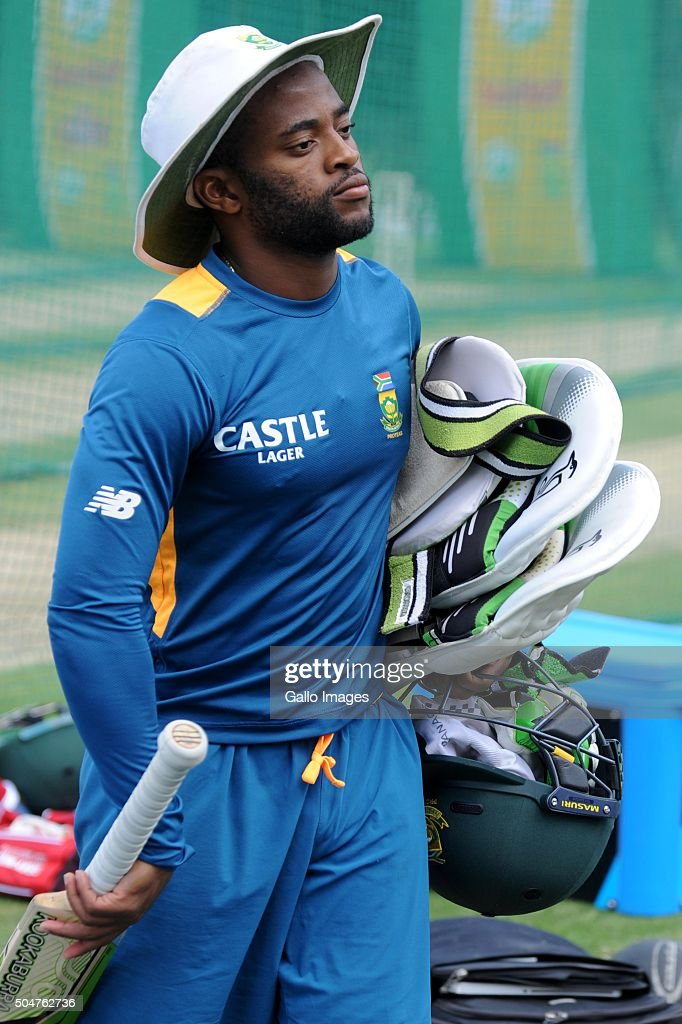 Themba Bavuma during the South African national cricket team training session and captain' press conference at Bidvest Wanderers Stadium on January 13, 2016 in Johannesburg, South Africa.