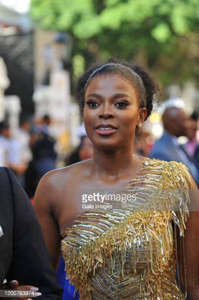 Thembeka Ngcobo arrives at the State of the Nation Address on February 13 2020 in Cape Town South Africa The State Of The Nation of the President of...