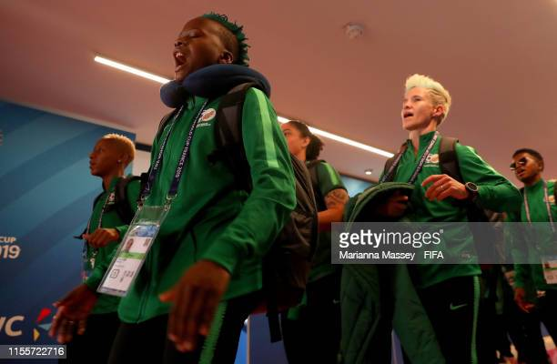 Thembi Kgatlana of South Africa and her teammates arrive at the stadium prior to the 2019 FIFA Women's World Cup France group B match between South...