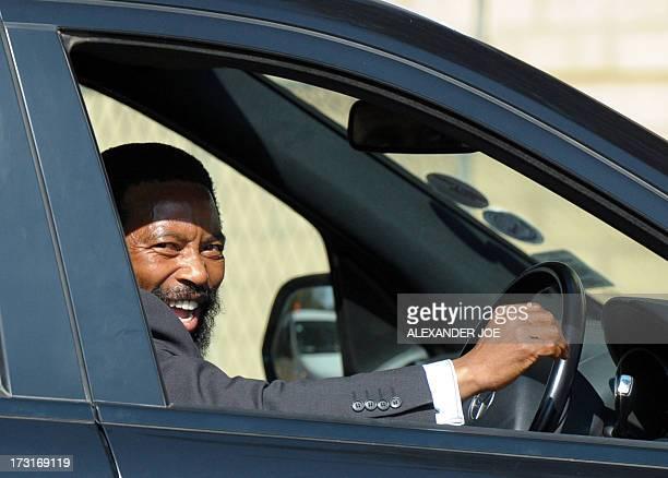Thembu King Buyelekhaya Dalindyebo arrives on July 9 2013 to visit former South African President Nelson Mandela at the MediClinic Heart Hospital in...